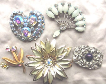 Vintage Rhinestone Brooch Lot Vendome & Others Destash Need Love Repurpose or Wear