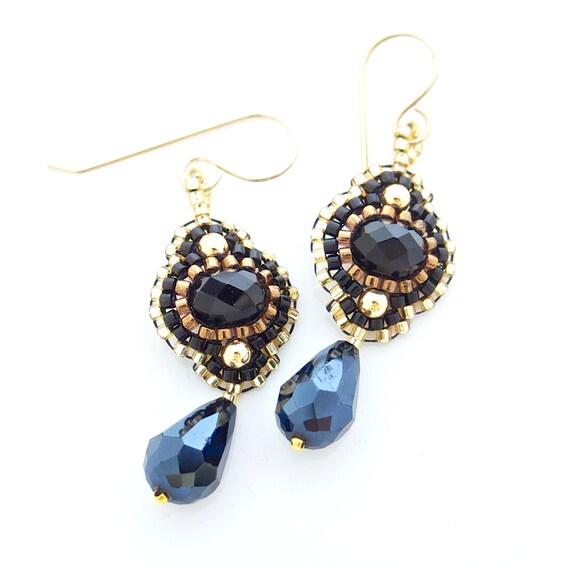 Black and Gold Earrings, Flower Dangle Earrings, Black Earrings, Teardrop Earrings, Black Flower Earrings, OOAK