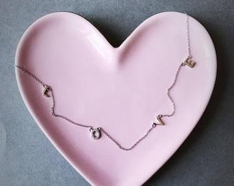 Silver - L O V  E - Necklace - Sterling Silver