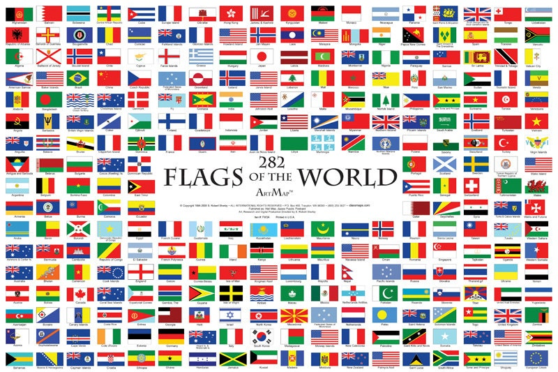282 flags of the world wall map poster zoom sciox Image collections
