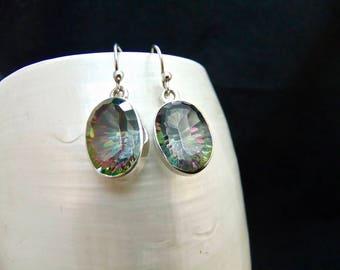 Mystic Topaz Gemstone Sterling Silver Drop Earrings