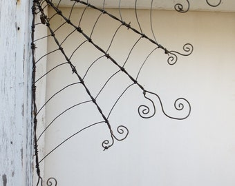 """18"""" Odd Twisted Barbed Wire Corner Spider Web Reclaimed Art"""