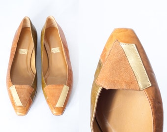 80s Leather Flats, Color Block Shoes, 80s Shoes, Suede Loafers, Metallic Gold Shoes, Brown Leather Loafers, Earth Tone Shoes, Suede Shoes