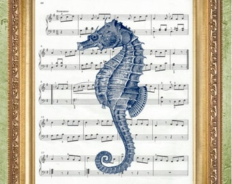 Bathroom Art Print Coastal Print Nautical Art Print Seahorse