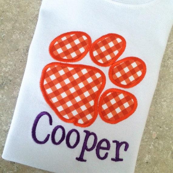 Clemson Tiger Applique Shirt, Boys or Girls, Long or Short Sleeve