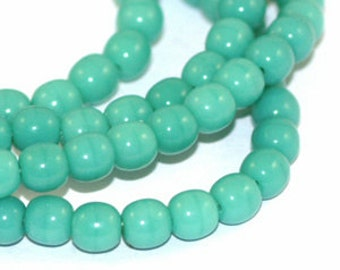 Opaque Green Turquoise 4mm Round Czech Glass Beads x 100