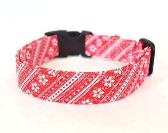 Winter Dog Collar, Festive Dog Collar, Christmas Pet Accessories, Red Snowflake, Nordic Print Dog Collar, Designer Dog Collar, Dog Accessory