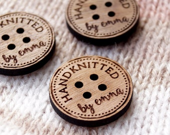 Personalized wooden buttons for knitting or crochet products, laser engraved custom buttons, wooden labels, logo tags, set of 25 pc
