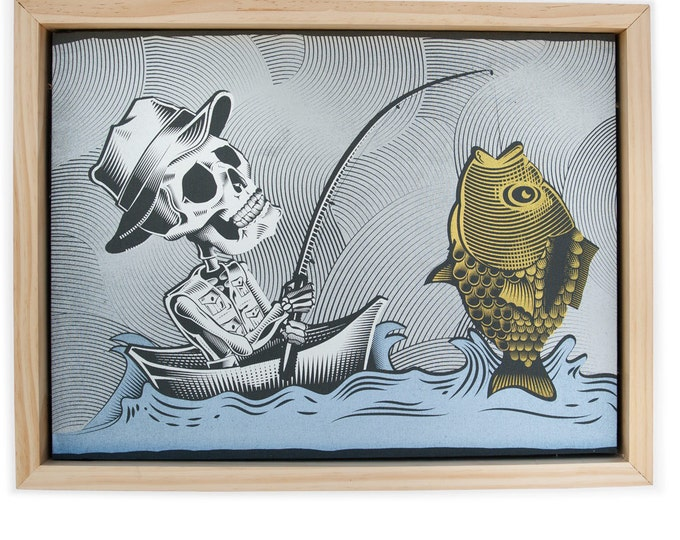 Fish Art - Skeleton Fisherman Catching a Fish - Day of The Dead Framed  Canvas Screen Print