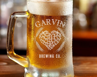 Personalized Etched 16oz Beer Mug / Beer Glass / Groomsman Gifts / Birthday Gifts / Gifts for Him / Gifts for Men / Gifts for Groom
