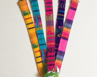 Pacifier Teether Clips, Paci Holder, Mexican Cambaya fabric, Serape