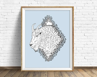 Rocky Mountain Goat - wall art, animal art print, woodland animals, large wall art, large art, wall art, drawing, woodland nursery, print
