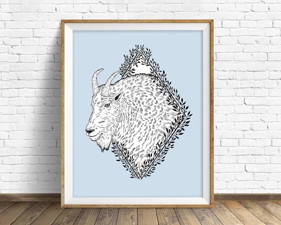 Rocky Mountain Goat - art print