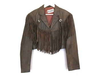 80's 90's Tan Leather Fringe Cropped Jacket size - M/L