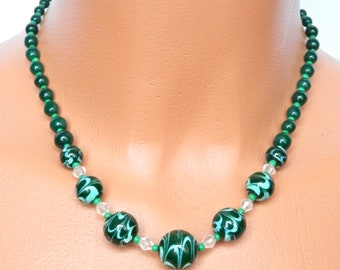 Vintage Art Deco Venetian Glass Bead Necklace, Green Swirl, PinUp