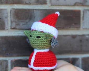 Santa Yoda Amigurumi Crochet Doll
