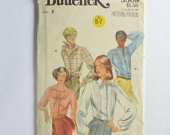 1970s UNCUT Vintage Butterick Sewing Pattern 5569 Womens Button Front Blouse Top, Puff Sleeves, Front Tucks, Pointed or Band Collar Size 8