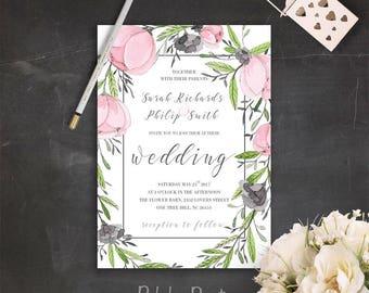 Romantic Wedding Invitations Elegant Wedding Invitation Set Printable Floral Wreath Wedding Invites Pink and Grey Wedding Invitation Suite