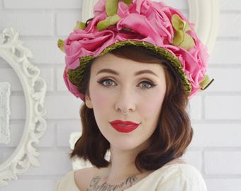 Vintage 1960s Pink Flowers and Green Leaves Hat by Amy New York