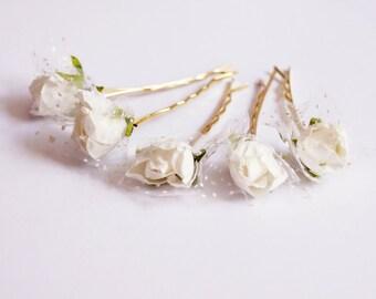 Bridal Hair Accessories, White Rose, White flower Hair Bobby Pin- set 6
