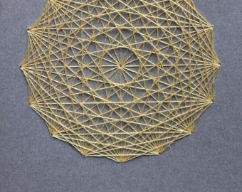 Knitter's Notebook Small - Radiant Core - Sacred Geometry : Grey with Yellow Thread - Knitting Journal Contemporary Embroidery Grid Paper