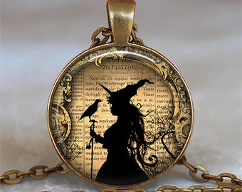 Witch and Raven necklace, Witch and Raven pendant cute witch necklace witch pendant Samhain jewelry Halloween key chain key ring key fob