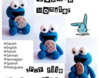 Cookie Monster - amigurumi crochet pattern.  Languages: English, French, Norwegian, Danish, Spanish, Portuguese, German