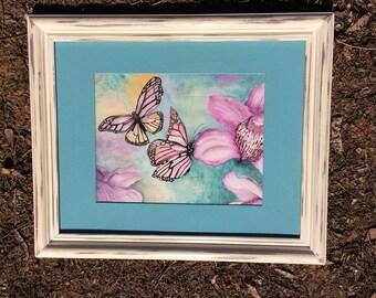 Butterflies and orquids original watercolor art,nature art,butterflies art,orquids art,framed art,wall decoration.