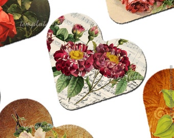 Digital Collage Sheet Vintage Flowers 1 inch heart shape images  Original  Printable 4x6 inch sheet Scrapbooking  Jewelry Making 153