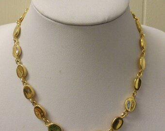 Vintage gold necklace, gold tone necklace, articulated necklace, gold link necklace, gold statement necklace