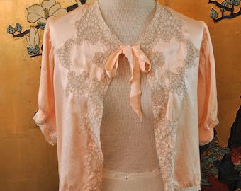 1930 Pink Lace Bed Jacket - Small