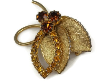 Topaz Rhinestone Two Leaf Bouquet Brooch