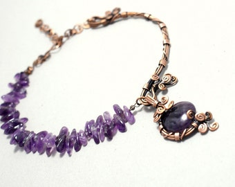 Purple Amethyst Necklace, Amethyst Jewelry, Amethyst Crystal Necklace, Copper necklace, February Birthstone Necklace, Gift For Women