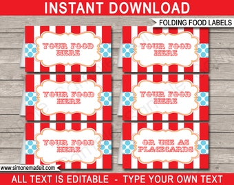Circus Food Labels - Carnival Food Labels - Circus Theme Party - Buffet Tags - Party Decorations - INSTANT DOWNLOAD with EDITABLE text