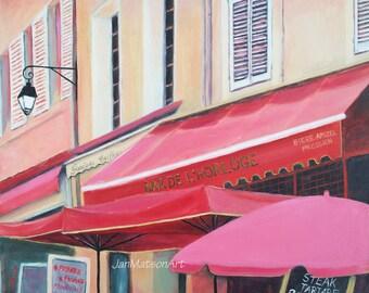 Paris painting, street scene, Bar De L'Horloge, FRAMED oil painting, cafe scene, Etsy Art, Jan Matson
