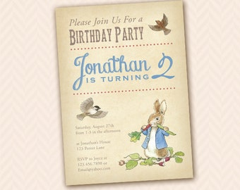 Peter rabbit invitations etsy beatrix potter inspired peter rabbit party invitation birthday shower easter filmwisefo