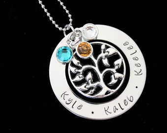 Hand stamped personalized name pendant  necklace with Swarovski Birthstones and tree charm - Mothers necklace - family necklace