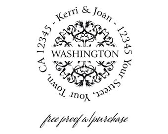 Round Return Address Stamp with Ornate Center (family name in the center). Mounted with Handle or Self-inking Return Address Stamp (20253 )