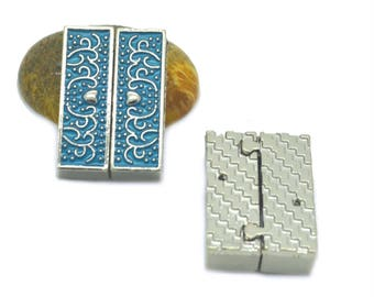 Blue magnetic clasp to cuff 32 x 22 x 8 mm silver
