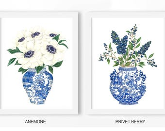 Chinoiserie prints: PRINTABLE FILE, Anemone, Privet Berry Poster, chinoiserie art, blue and white china, blue and white ginger jar