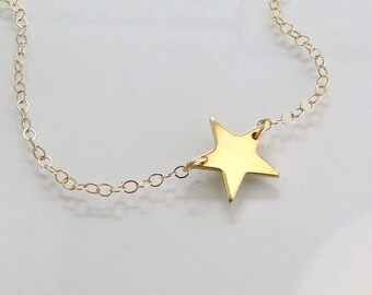 Star Necklace, 14K Gold , Seen On  Kelly Ripa, Emma Watson, and Lea Michele - 14K Solid Yellow Gold or White Gold