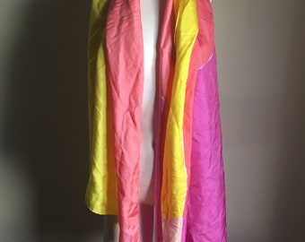 Vintage 60s X Large Silk Long Abstract Print Scarf