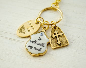 It is well wtih  my soul Hymn Necklace - Faith Necklace, Christian Jewelry