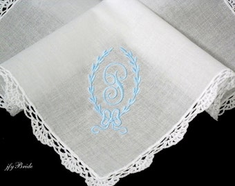 Brides Something Blue Handkerchief, Personalized Wedding Handkerchief, jfyBride