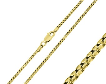 1mm 925 Sterling Silver Italian Box Chain Necklace / Gold Plated made in italy(PLBOX100GP)