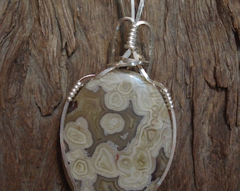 Flower Agate in Sterling Silver Pendant, Flower Agate Cabochon, Wirewrapped Flower Agate Pendant