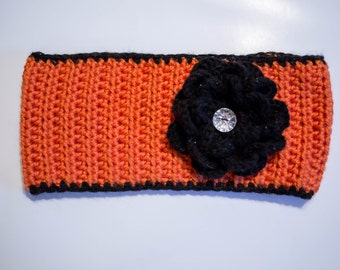 Crochet Headband with Removable Flower