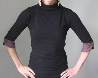 mock turtleneck/half sleeved top/petal sleeves/womens top/black with dusty plum