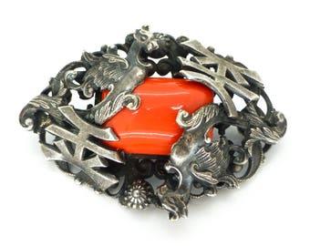 Vintage Art Deco Neiger Gryphon Dragon Coral Glass Oriental Brooch