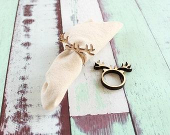 Reindeer Napkin Rings Antler Napkin Rings Christmas Napkin Rings Wood Napkin Rings